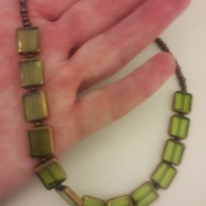 Green colored stone and bead necklace